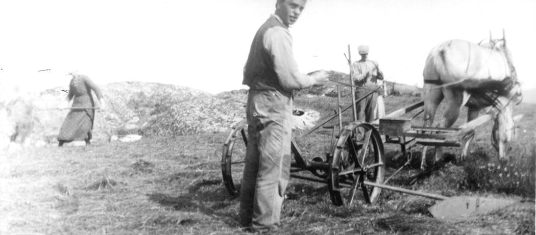 Slåttonn i Høylandsbygd, ca 1920-25. Frå venstre Magnhild Hillestad, Hans Hillestad, Johannes Hillestad. Lånt av Dagfinn Eide